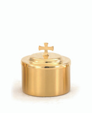 "24 KT Gold Plated Host Box - Diameter: 3 5/8"", Height: 3 3/4"". Holds 125 Host."