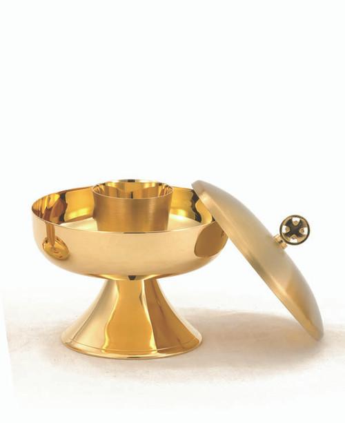 """24 KT Gold Plated Host Box - Diameter: 3 5/8"""". Height: 4 1/4"""". Holds 150 Host."""