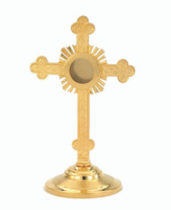 "9 1/8"" Reliquary. This 24 KT gold plated reliquary is made of high quality brass, and is handcrafted in the USA. Diameter: 1 5/8"""