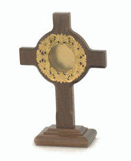 "24 KT gold plated high quality brass and wood reliquary. Height: 6"". Diameter: 1 5/8"". Handcrafted in the USA."