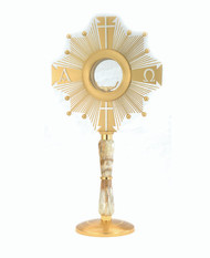 "24 KT Gold Alpha and Omega Monstrance comes with a European clip to hold a 2 3/4"" host. Height: 21"". Width 11"". Base Diameter: 6"". Made by skilled Italian craftsmen."