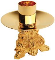 """24k Gold plated Candlestick. 3-1/4"""" Height, 3-5/8"""" Base, 1-1/2"""" Socket"""