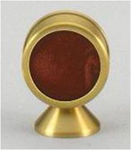 "Red velvet background for relic.  Opens from back. All gold lacquered satin finish. Height: 3"", Chamber diameter: 2""."