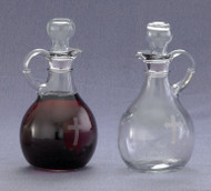 "Cruet Set with etched cross - Height: 6"", 10 ounce capacity bottles"