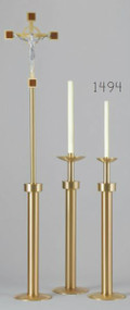 "Pair of  40.5"" tall Processional Candlesticks. Satin brass finish with bronze lacquer are shipped with Standard sockets size 1 1/2"" unless otherwise noted.  Larger sockets are available please call 1 800 523 7604 to order."