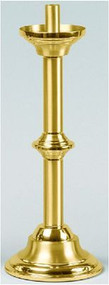 "Pair of Altar Candlesticks - Crafted of solid brass with a combination of bright and satin finish and protected with a bronze lacquer. Height: 15"". Diameter of base: 6"". Comes with socket to accommodate 7/8"" Altar Candles.  Candles not included."