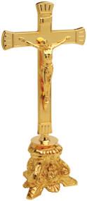 "24K Gold plated Altar Crucifix. 10-3/4"" Height. 3-3/4"" Base. Matching candlesticks - K841"