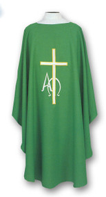 """Ample cut (60""""W x 52""""L), lightweight, textured fortrel polyester-linen weave.  Multicolor Swiss Schiffli Embroidery on front only or front and back. Self lined stole is included with each chasuble. Available with roll collar at an additional cost."""