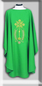 "Embroidered Ample Cut Lightweight Chasuble 846 ~ mple cut (60""W x 52""L), lightweight, textured fortrel polyester-linen weave.  Multicolor Swiss Schiffli Embroidery on front only or front and back. Self lined stole is included with each chasuble. Available with roll collar at an additional cost."