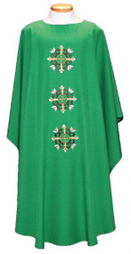 """Embroidered Ample Cut Lightweight Chasuble 2019-Ample cut (60""""W x 52""""L), lightweight, textured fortrel polyester-linen weave.  Multicolor Swiss Schiffli Embroidery on front only or front and back. Self lined stole is included with each chasuble. Available with roll collar at an additional cost"""