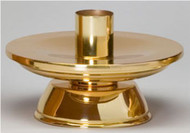 "Altar Candlestick in Polished Bronze Finish - Height: 3"". Width: 7"". Socket accommodates 1 1/2"" altar candles. Sold in pairs."