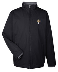 Clergy or Deacon traditional all weather jacket. 100% polyester water-resistant with fleece lining. Soft touch flat knit inner collar with stripe detail. Lower concealed pockets with zippers. Adjustable shock cord at hem. Sizes: Small, Medium, Large, X-Large, 2XL, 3XL &  4X. Colors: Black, Navy or Khaki