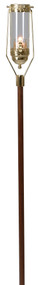 Processional Torch 537. Swinging Processional Torch/Pew End Torch. Brass plated with walnut, 1˝ dia. shaft. 60 H. overall. 3˝ x 8˝ glass globe included. 10-hour votive glass holder. Torch always remains in upright position no matter what angle you hold the shaft. (The wood handle is made from solid walnut. The color and grain may vary.) Torch Stand is also available (item #K227-2)