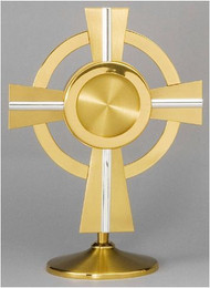 "Ostensoria for chapel - 24 K gold and silver plated. Height: 11"". Holds a 2 2/3"" host."