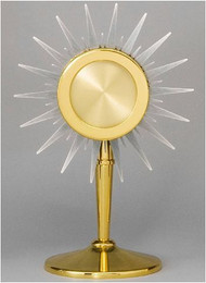"Ostensoria Chapel Size - Gold and silver plated. Height: 10 1/2"". Holds a 2 3/4"" Host. Loads from the front."
