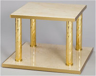 """Thabor Tabler has Italian Square Marble shelves with Polished Brass spiral posts and Satin Brass edges. Size: Top Level 10"""", Base Level 12""""  and 8-1/2""""H."""