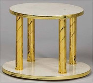 "Thabor Table with Italian Round Marble shelves with Polished Brass spiral posts and Satin Brass edges. Size: Top Level 10"", Base Level 12"" x 8-1/2""H"