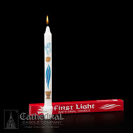 "First Light/Primera Luz~ White Stearine Baptismal Candle. This Candle is a Meaningful Keepsake .  the candle is decorated in three colors. Gift Boxed with Provisions for a Record of the Ceremony. 3/4"" x 9 1/4"". Also available in case of 50. 50% Beeswax Available ~ single or by case of 50 (see Item #84100801)"