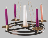 "Hanging Church Advent Wreath Candle Holder for those architectural configurations where a suspended wreath is preferred. Diameter: 36"" Drop Length: 36"" 4 perimeter sockets for 1-1/2 inch candles. Central candle holder is for 3 inch candles. Candles not included."