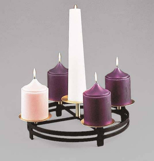 """Advent Table Top Wreath - Matted black and satin bronze finish. The perfect Liturgical center piece for the Advent Season. Diameter: 19½"""". Has four perimeter platforms to accommodate 4"""" candles. Center platform w/spike. Candles Sold Separately."""