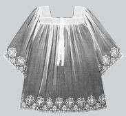 Washable embroidered sheer nylon surplice, swiss schiffli embroidered. Available in S,M,L and XL. Surplice Size Chart is on the product description page