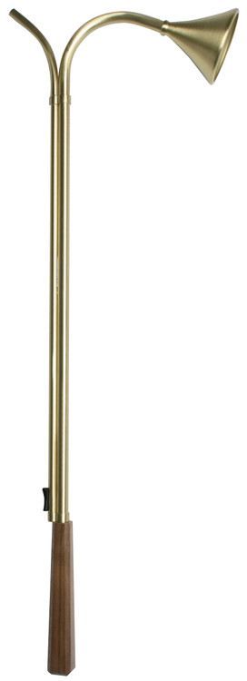 This solid brass 24˝ candle lighter as a walnut handle.  The wood handle is made from solid walnut. The color and grain may vary