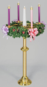 We start with two 36-inch rings made of aluminum and powder coated in gold.  Between the two rings, crossbars intersect to provide support for a brass bobeche for the Christ candle, which accommodates a three-inch candle and has a spike to provide stability. Surrounding the Christ candle, attached to the rings, four five-inch brass bobeches, finished in a satin bronze,  are fitted with 1-1/2-inch sockets.  You may specify your socket size  UP TO THREE INCHES at no additional charge