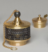 "Censer and Boat - Diameter: 6"". Satin bronze finish black cage. Extra cool burning censer: approximately 5"" wide x 6 1/4"" tall. Chain length: Approximately 27"" from top."