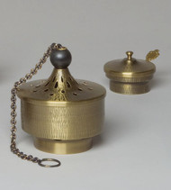 "Censer and Boat - antique brass finish censer: approximately 6"" wide x 5 1/2"" tall chain ext. approximately 27"" from top"