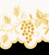 Altar Cloth is 100% polyester with gold silk embroidery. The linens are hand scalloped. Easy to maintain. Available in White only. For proper measurement please refer to sketch below. Priced per yard. Please specify if you would like hemming and supply measurements. Please call 1 800 523 7604 for help with measuring and ordering.  Cloth is priced per yard.