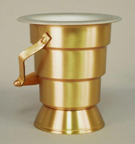 "Holy Water Bucket with Satin Bronze Finish - Height: 7 1/4"". Removable aluminum liner insert for easy maintenance. Elegant Wood Handle. Asperigal sold separately."