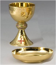 "Chalice and Bowl Paten Set - Height of chalice: 7 1/2"", Cup diameter: 4 1/2"", 16 ounce capacity, cast node, sterling silver inner cup, Paten diameter: 6 ""."