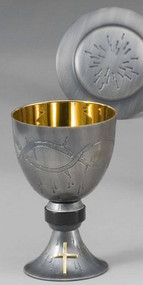 "Chalice and Paten in Round Hammered Gold Finish - 24K Gold Plated Sterling Silver cup design with cast node. Height: 6 3/8"", Cup diameter: 4 1/2"", 16 Ounce capacity, 24K gold plated."