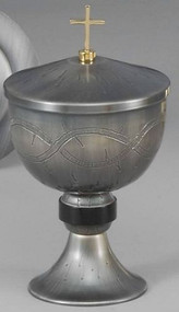 "Ciborium - Height: 8 1/2"", Cup diameter: 5"". Crown of Thorns on Oxidized Silver and 24K gold plated inner lined cup. Ciborium Only."