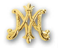 "Ave Maria Broach Pin 1-1/4"" Gold over Solid Sterling Siver Ave Maria Brooch Pin. Deluxe Velour Gift Box Included."