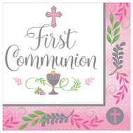 """Add this Beverage napkin to the table for your child's First Holy Communion celebration.  The words, """"First Communion""""  are printed amidst a cross, the Blessed Sacrament, and grapes and wheat.  A decorative Pink or Blue trim stands out around the edge.  This design comes thirty-six to a package.  Additional party supplies in this design are available. Matching cups, plates and luncheon napkins are available!"""