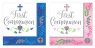 "Add this Beverage napkin to the table for your child's First Holy Communion celebration.  The words, ""First Communion""  are printed amidst a cross, the Blessed Sacrament, and grapes and wheat.  A decorative Pink or Blue trim stands out around the edge.  This design comes thirty-six to a package.  Additional party supplies in this design are available. Matching cups, plates and luncheon napkins are available!"