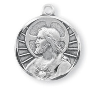 "1"" Sterling Silver Scapular Medal showing the Sacred Heart of Jesus on the round shaped front and Our Lady of Mount Carmel on the reverse side.  Medal comes with a genuine rhodium 24"" Chain in a deluxe velour gift box."