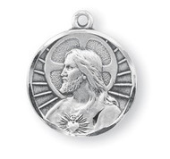 "3/4"" Sterling Silver Scapular medal showing the Sacred Heart of Jesus on the front and Our Lady of Mount Carmel on the reverse side.  Medal comes with a genuine rhodium 24"" chain in a deluxe velour gift box."