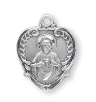 "3/4"" Sterling Silver Scapular medal showing the Sacred Heart of Jesus on the heart shaped front and Our Lady of Mount Carmel on the reverse side. Medal comes with a genuine rhodium 18"" chain in a deluxe velour gift box."