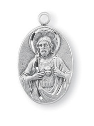"7/8"" Sterling Silver Scapular Medal with a genuine rhodium 18"" chain in a deluxe velour gift box."