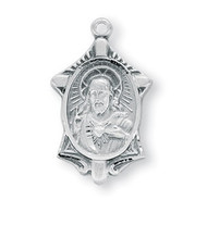 7/8 Inch Sterling Silver Scapular Medal comes with a genuine rhodium 18 Inch Chain in a deluxe rhodium gift box.