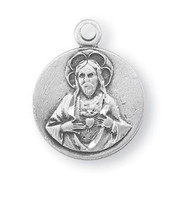 "5/8"" Sterling silver Scapular medal showing the Sacred Heart of Jesus on the round shaped front and Our Lady of Mount Carmel on the reverse. The  medal comes with an 18"" genuine rhodium plated chain in a deluxe velour gift box."
