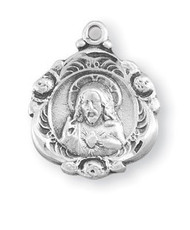 "Scapular-Sacred Heart of Jesus Scapular Medal. Solid .925 serling silver. Dimensions: 0.7"" x 0.6"" (17mm x 14mm). The medal comes with an 18"" genuine rhodium plated curb chain and  in a deluxe velour gift box. Made in the USA."