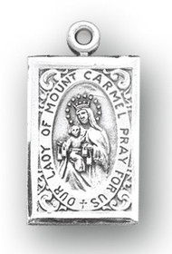 "7/8"" Sterling silver Scapular medal showing Our Lady of Mount Carmel on the rectangle shaped front and the Sacred Heart of Jesus on the reverse. The medal comes with an 18"" genuine rhodium plated chain in a deluxe velour gift box."