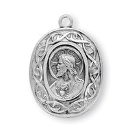 "15/16"" Sterling silver ""Crown of Thorns"" Scapular medal showing the Sacred Heart of Jesus on front and Our Lady of Mount Carmel on the reverse. The medal comes with a 24"" genuine rhodium plated endless chain in a deluxe velour gift box."