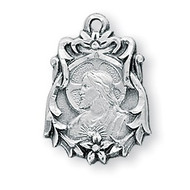 "13/16"" Sterling Silver Scapular Medal comes with a genuine rhodium 18"" Chain and a deluxe velour gift box. Our Lady of Mount Carmel is on reverse side of pendant"