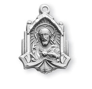 "3/4"" Sterling silver Scapular medal with an angel border showing the Sacred Heart of Jesus on the art deco cathedral shaped medal and Our Lady of Mount Carmel on the reverse. The medal comes with an 18"" genuine rhodium plated chain in a deluxe velour gift box."