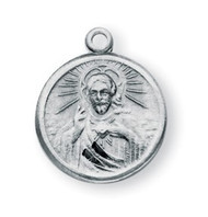 "5/8"" Sterling Silver Scapular Medal with Our Lady of Mount Carmel on Reverse Side. An 18"" rhodium plated curb chain is included with a deluxe velour gift box."
