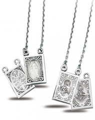 "7/8"" Sterling Silver Two Piece doubled sided Scapular Medals, 24"" chains and a deluxe velour gift box included"